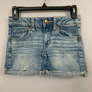 American Eagle Outfitters Shorts - AEO Super Super Stretch Midi Shorts Mid Rise Denim
